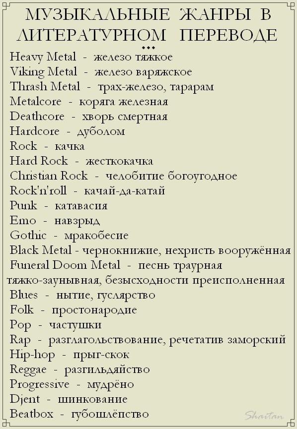 Музыкальные жанры в литературном переводе